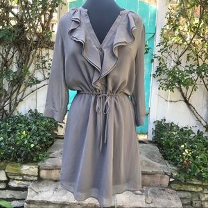 H&M Grey ¾ Sleeve Ruffle Front Dress Size 12